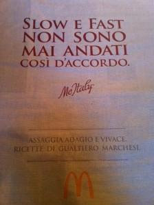 Manifesto Gualtiero Marchesi e McDonald's